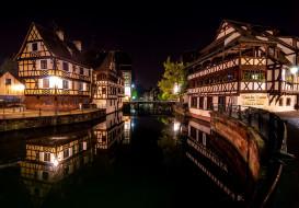 города, страсбург , франция, дома, канал, огни, вечер