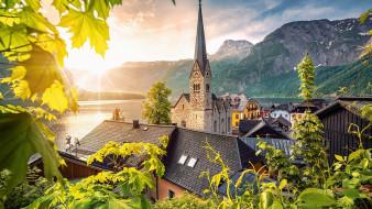 города, гальштат , австрия, панорама