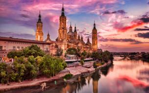 города, сарагоса , испания, закат, собор, река
