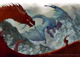 дракон, двое, крылья, рога, полет, атака, calendar, 2020