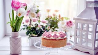 еда, торты, торт, тюльпаны, крем