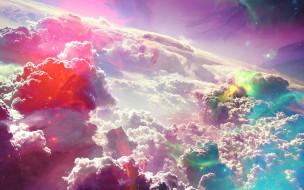 космос, арт, звезды, облака