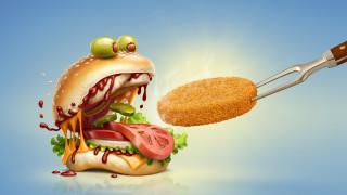 гамбургер, вилка, котлета, прикол, кормление, бутерброд, фастфуд, оливки, овощи, хлеб, графика