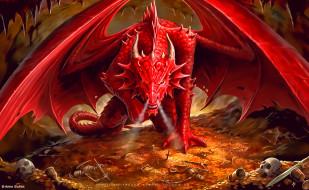 золото, дракон, 2020, calendar, скелет, крылья, красный