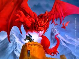 дракон, красный, calendar, башня, воин, 2020