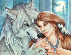 calendar, животное, ожерелье, украшение, девушка, волк, 2020, ласка