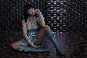 3д графика, фантазия , fantasy, платье, взгляд, фон, девушка
