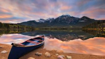 корабли, лодки,  шлюпки, закат, лодка, горы, озеро