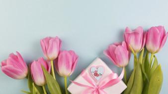 бант, тюльпаны, подарок, лента