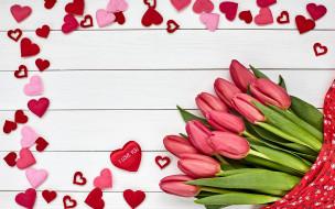 надпись, тюльпаны, сердечки, признание