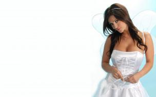 девушки, denise milani, крылья, платье, шатенка