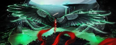 фэнтези, ангелы, крылья, фон, ребенок