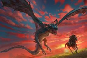 фэнтези, драконы, красный, чудовище, небо, летит, крылья, монстр, меч, пыхтит, сражение, зубы, битва, пасть, пламя, дракон