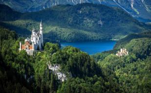 города, замок нойшванштайн , германия, панорама