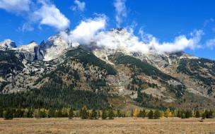 природа, горы, облака, деревья