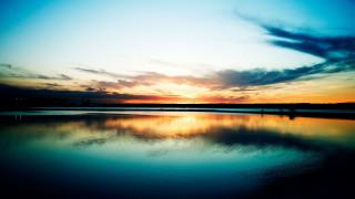 небо, облака, заря, озеро