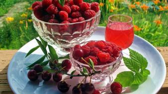 еда, фрукты,  ягоды, малина, вишня