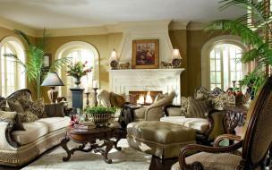 камин, картина, кресла, диван