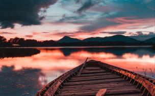 корабли, лодки,  шлюпки, горы, озеро, закат, лодка