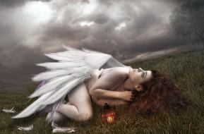 крылья, ангел, белый, слёзы, перья, девушка