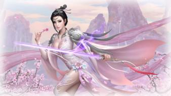 фэнтези, девушки, девушка, фон, взгляд, меч, платье