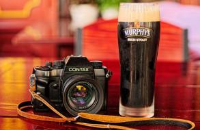 бренды, contax, фотокамера, бокал, пива, murphys