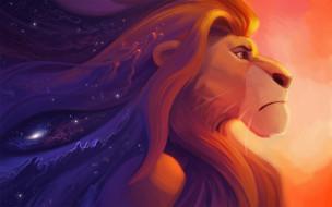 мультфильмы, the lion king, лев, фон, профиль