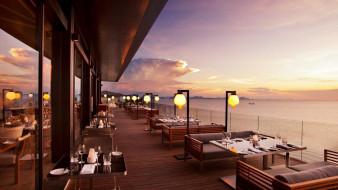 море, терраса, ресторан, столики, сервировка