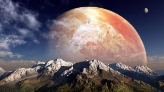 космос, арт, планета, горы