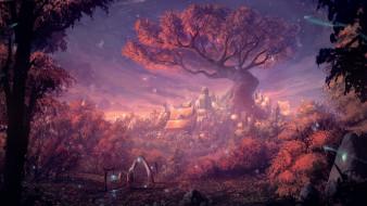 дерево, фантазия, красота, волшебство, сказочный город