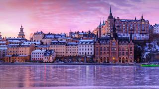 города, стокгольм , швеция, пейзаж, закат, облака, крыши, отель, река, замороженное, озеро, город, зима, cтокгольм