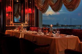 терраса, ресторан, вечер, сервировка