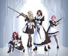 аниме, оружие,  техника,  технологии, девушки, фон, взгляд, школьная, форма