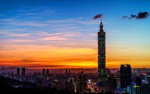 города, тайбэй , тайвань,  китай, тайбэй, 101, закат, современные, здания, небоскребы, азия, китай