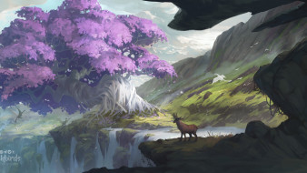 животные, горы, дерево, водопад