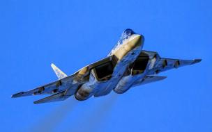 cу-57, авиация, боевые самолёты, су-57, голубое, небо, пак, фа, реактивные, истребители, felon, ввс, россии, т-50