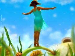 календари, фэнтези, девушка, маленькая, цветы, насекомое, природа, calendar, 2020