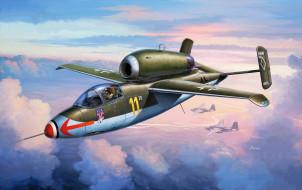 heinkel he 162a spatz, авиация, 3д, рисованые, v-graphic, воробей, самолет, рисунок, реактивный, истребитель, германия
