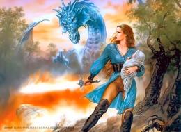 календари, фэнтези, женщина, ребенок, девушка, оружие, дракон, calendar, 2020