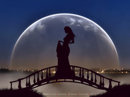 девушка, мост, луна, планета, ночь, calendar, 2020