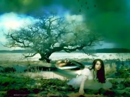 календари, фэнтези, дерево, лодка, девушка, природа, женщина, calendar, 2020