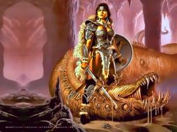 календари, фэнтези, воительница, пещера, девушка, монстр, чудовище, calendar, 2020
