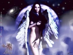 календари, фэнтези, ангел, крылья, девушка, обнаженная, планета, calendar, 2020