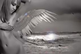 календари, фэнтези, девушка, ангел, крылья, водоем, обнаженная, calendar, 2020