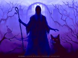 календари, фэнтези, кладбище, животное, ночь, волк, плащ, капюшон, calendar, 2020