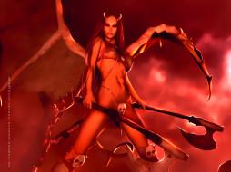 календари, фэнтези, череп, рога, девушка, демон, оружие, calendar, 2020