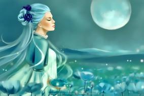 календари, фэнтези, цветы, женщина, профиль, природа, луна, девушка, calendar, 2020