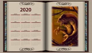 календари, фэнтези, книга, оборотень, существо, злой, calendar, 2020