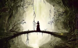 календари, фэнтези, девушка, пещера, мост, природа, calendar, 2020