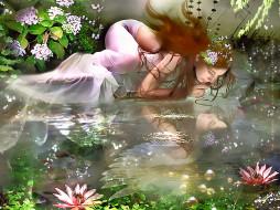 календари, фэнтези, природа, девушка, водоем, отражение, вода, растение, calendar, 2020